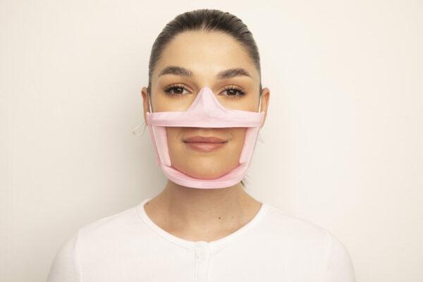Clear Failte Mask Pink 1 Irish Clear Face Mask Ireland Covid